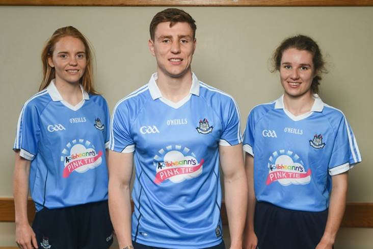 107c5b76367 Ciara Trant, John Small and Doireann Mullany at the launch of Aoibheann's  Pink Tie Dublin GAA jersey takeover in Parnell Park ©Sportsfile