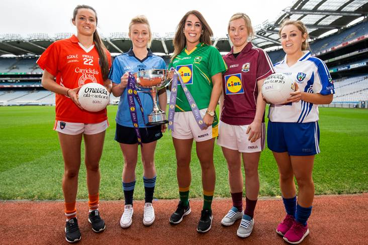 5538d217215f At the launch of the Ladies NFL and Lidl sponsorship announcement are Division  1 players pictured (L-R) Aimee Mackin (Armagh) Carla Rowe (Dublin) Aislinn  ...